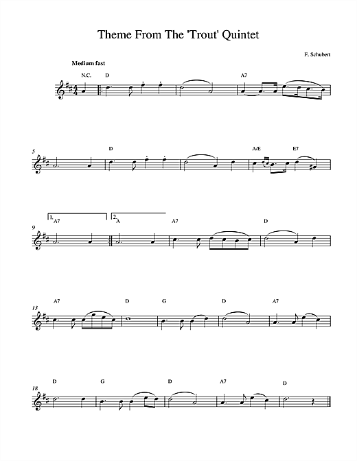 Franz Schubert Theme From The Trout Quintet (Die Forelle) sheet music notes printable PDF score