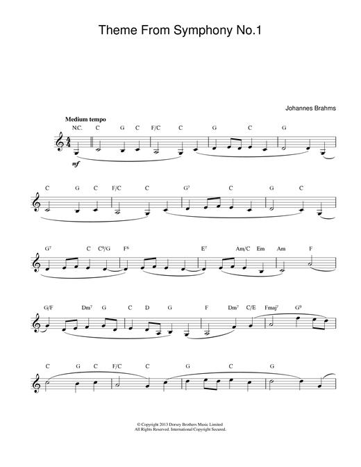 Johannes Brahms Theme Symphony No1 sheet music notes printable PDF score