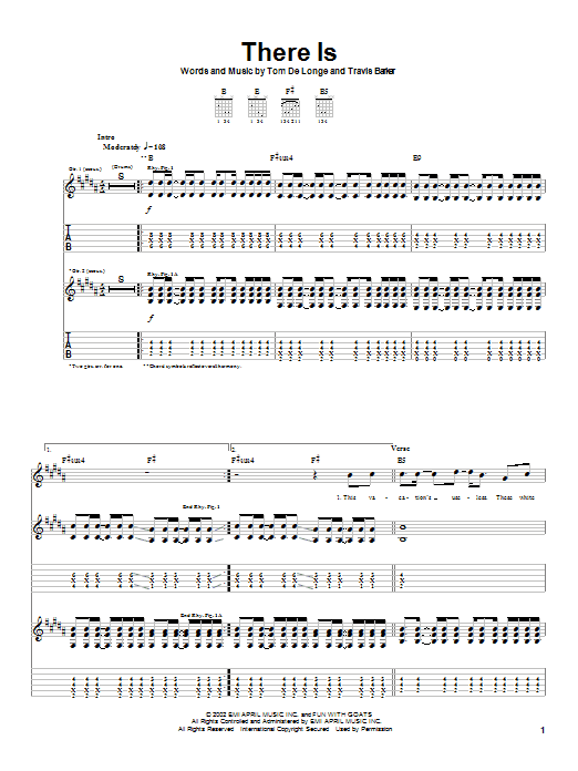 Box Car Racer There Is sheet music notes printable PDF score