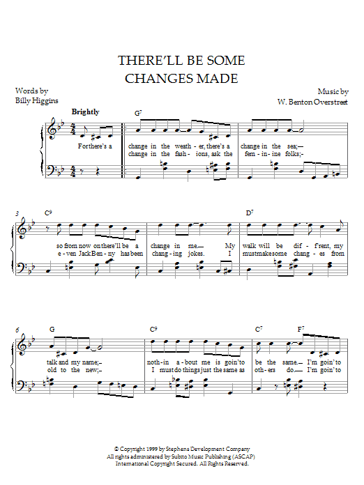 W. Benton Overstreet There'll Be Some Changes Made sheet music notes printable PDF score