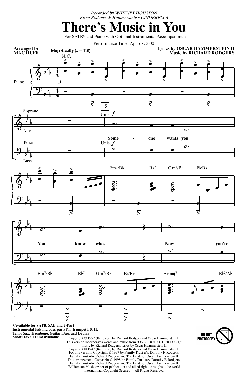 Whitney Houston There's Music In You (from Cinderella) (arr. Mac Huff) sheet music notes printable PDF score