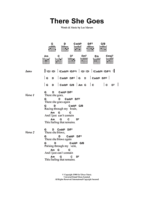 The La's There She Goes sheet music notes printable PDF score