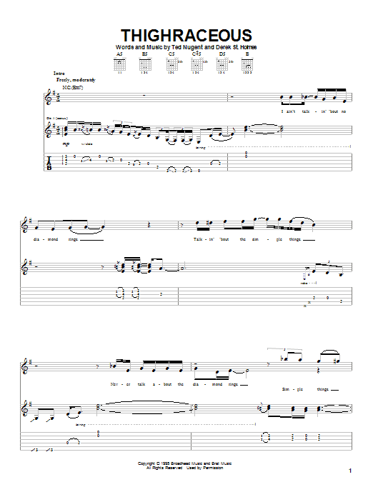 Ted Nugent Thighraceous sheet music notes printable PDF score