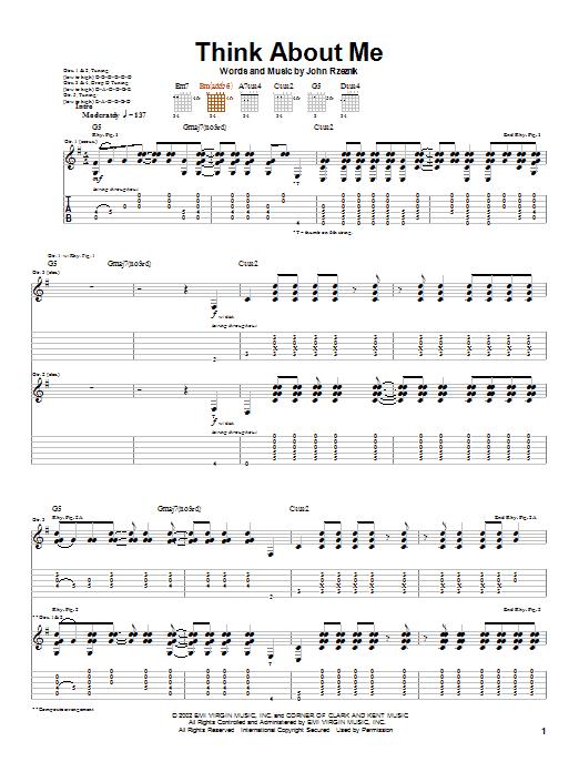 Goo Goo Dolls Think About Me sheet music notes printable PDF score