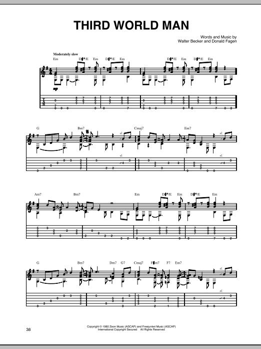 Steely Dan Third World Man sheet music notes printable PDF score