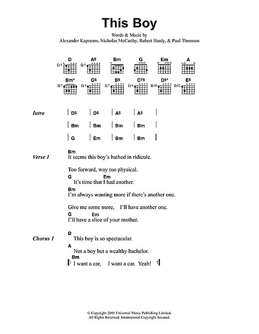 Franz Ferdinand This Boy sheet music notes printable PDF score