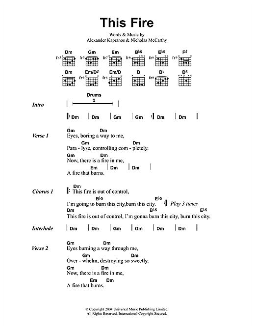 Franz Ferdinand This Fire sheet music notes printable PDF score