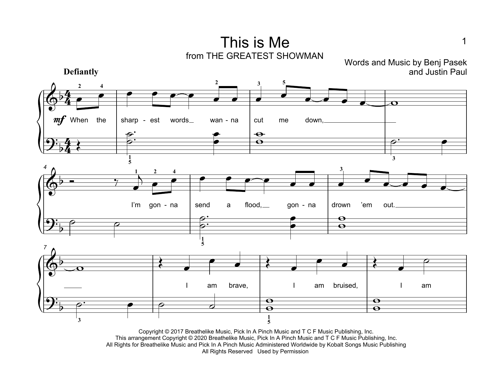 Pasek & Paul This Is Me (from The Greatest Showman) (arr. Christopher Hussey) sheet music notes printable PDF score