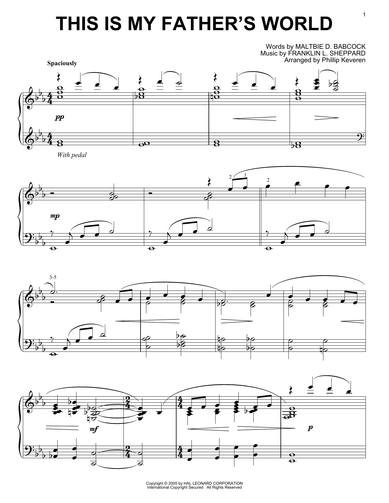Franklin L. Sheppard This Is My Father's World [Jazz version] (arr. Phillip Keveren) sheet music notes printable PDF score