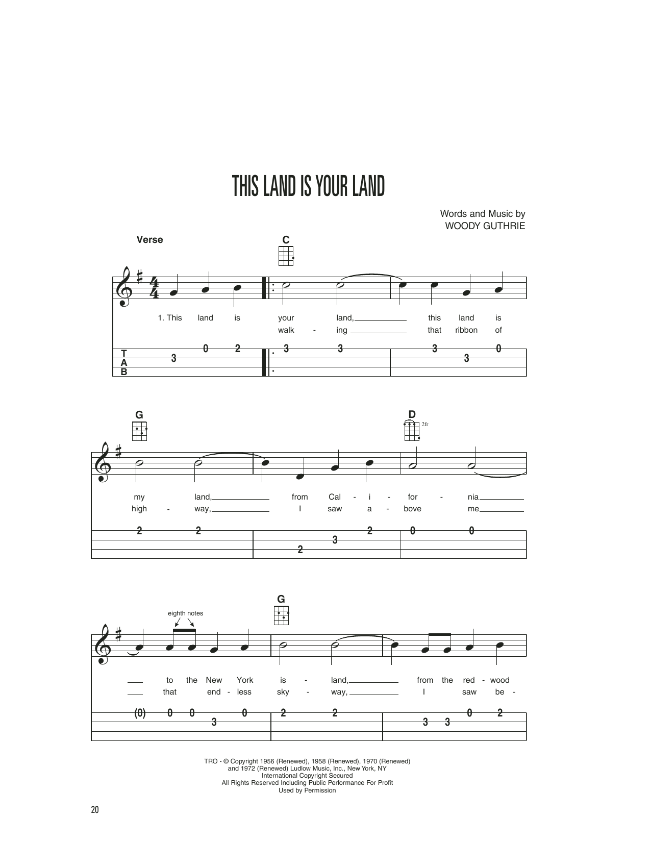 Woody & Arlo Guthrie This Land Is Your Land sheet music notes printable PDF score