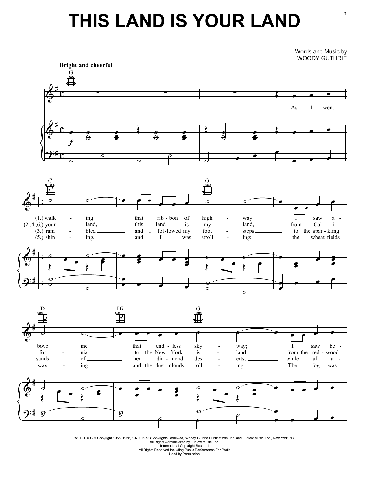 Woody Guthrie This Land Is Your Land sheet music notes printable PDF score