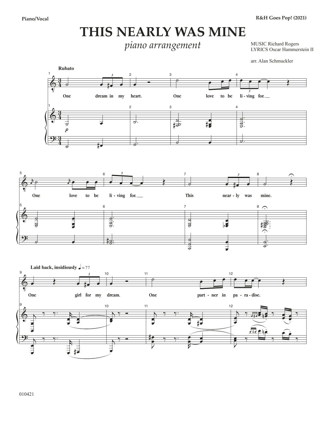 Rodgers & Hammerstein This Nearly Was Mine [R&H Goes Pop! version] (from South Pacific) sheet music notes printable PDF score