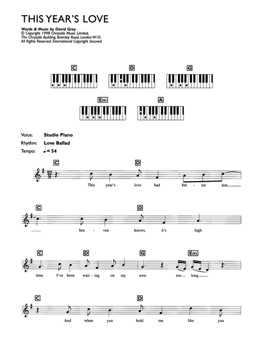 David Gray This Year's Love sheet music notes printable PDF score