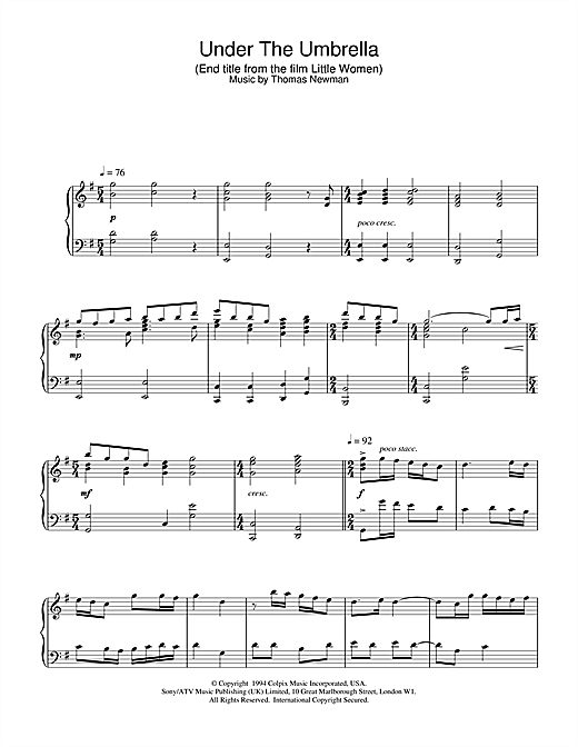 Thomas Newman Under The Umbrella (End Title from Little Women) sheet music notes printable PDF score