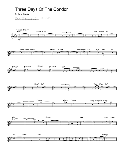 Dave Grusin Three Days Of The Condor sheet music notes printable PDF score