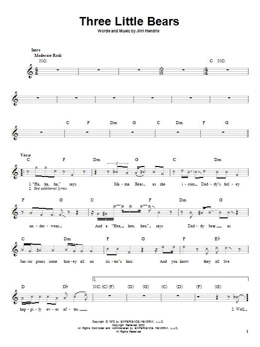 Jimi Hendrix Three Little Bears sheet music notes printable PDF score