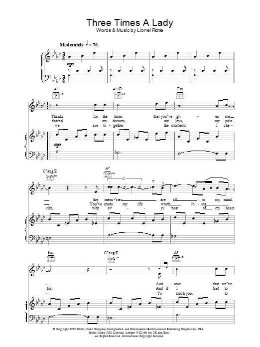 Lionel Richie Three Times A Lady sheet music notes printable PDF score
