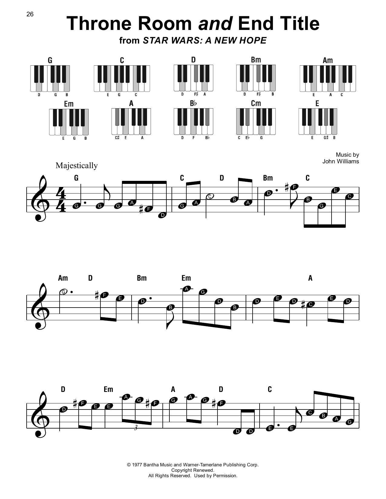 John Williams Throne Room and End Title (from Star Wars: A New Hope) sheet music notes printable PDF score