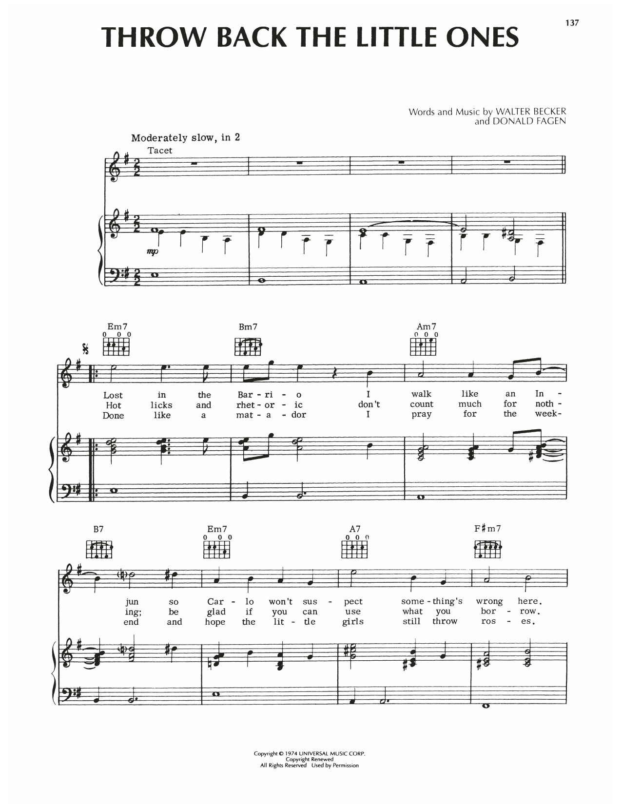 Steely Dan Throw Back The Little Ones sheet music notes printable PDF score
