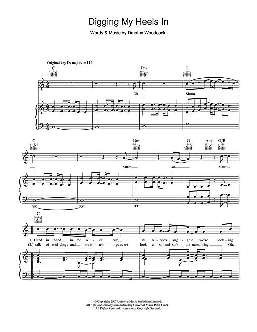 Tim Daniel Digging My Heels In sheet music notes printable PDF score