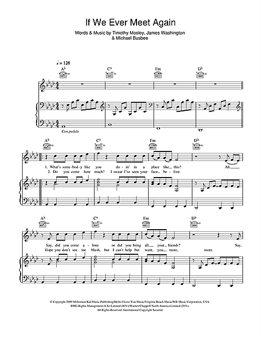 Timbaland If We Ever Meet Again (feat. Katy Perry) sheet music notes and chords. Download Printable PDF.