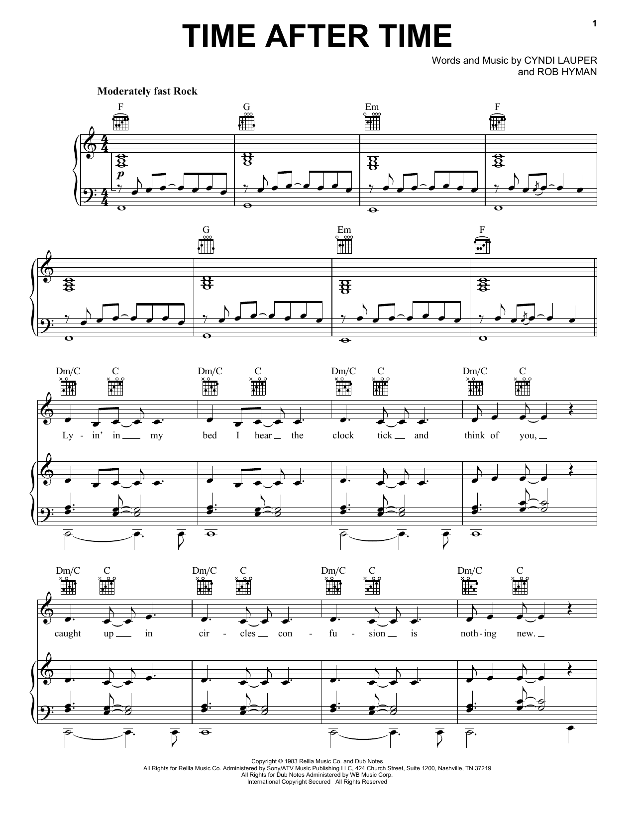 Cyndi Lauper Time After Time sheet music notes printable PDF score