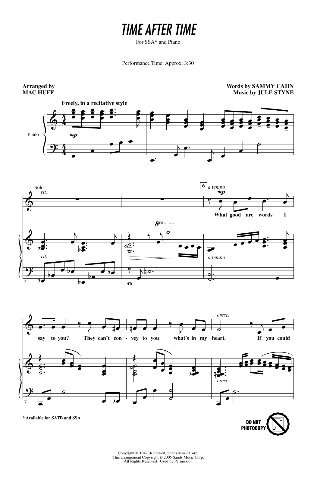 Frank Sinatra Time After Time (arr. Mac Huff) sheet music notes printable PDF score