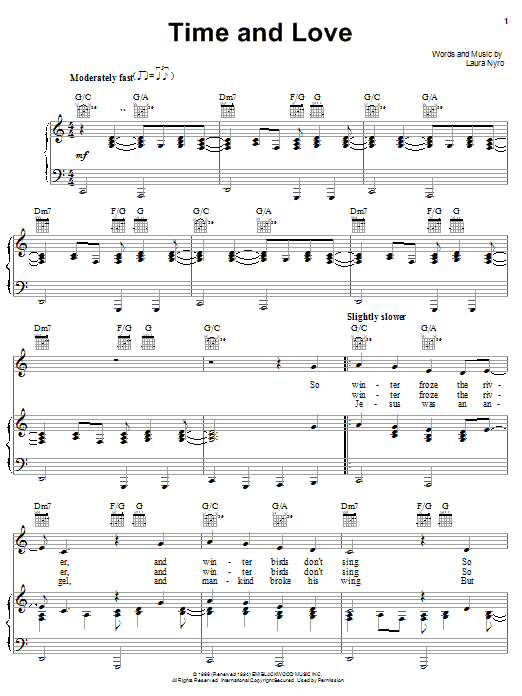 Laura Nyro Time And Love sheet music notes printable PDF score