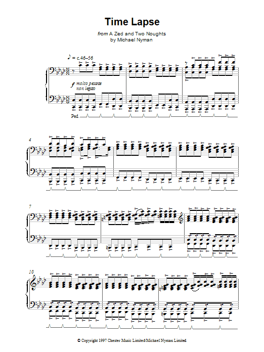 Michael Nyman Time Lapse (from A Zed And Two Noughts) sheet music notes printable PDF score