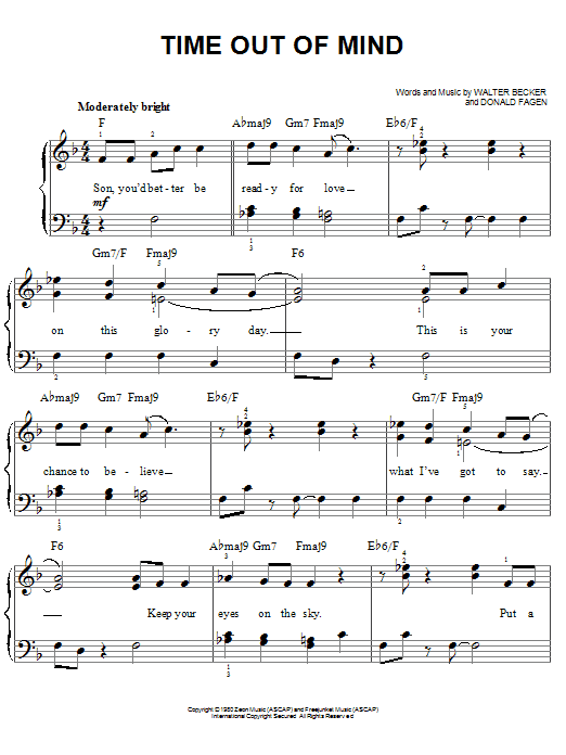 Steely Dan Time Out Of Mind sheet music notes printable PDF score