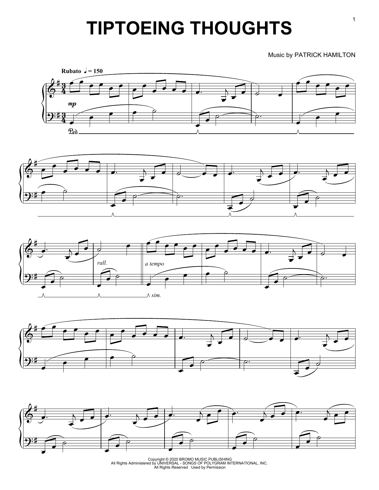 Patrick Hamilton Tiptoeing thoughts sheet music notes printable PDF score