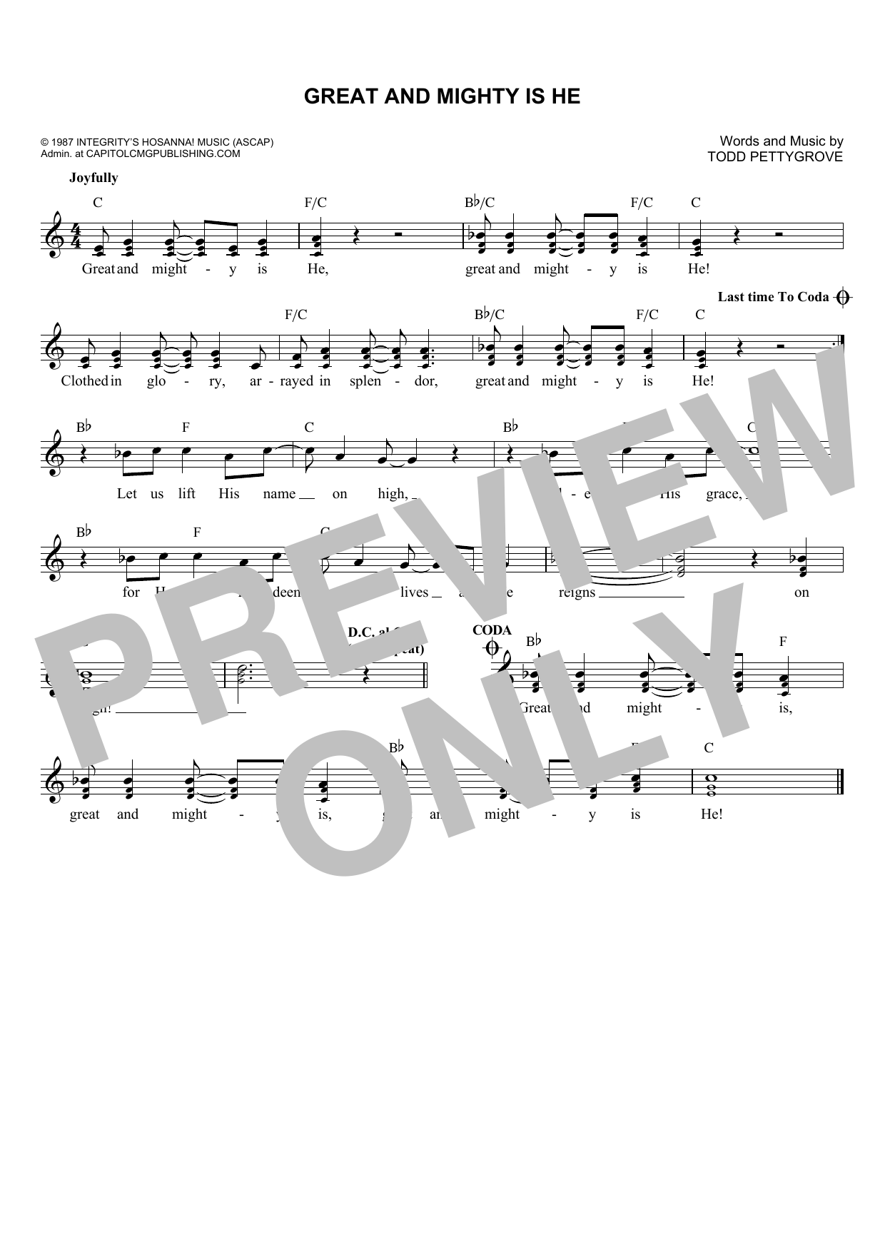 Todd Pettygrove Great And Mighty Is He sheet music notes and chords. Download Printable PDF.