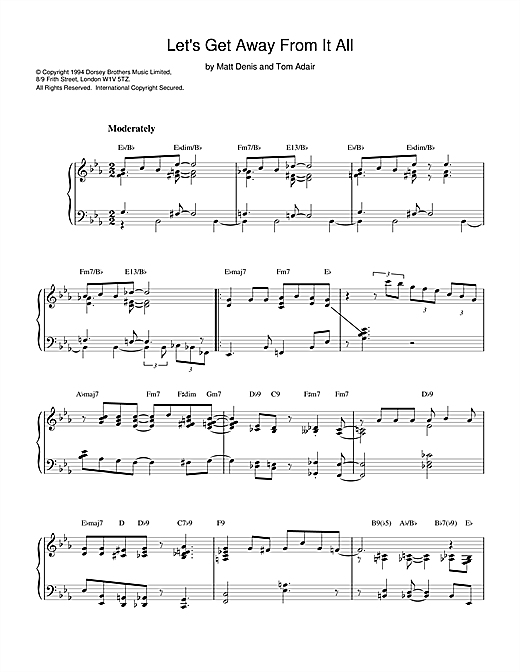 Tom Adair Let's Get Away From It All sheet music notes printable PDF score