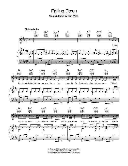 Tom Waits Falling Down sheet music notes printable PDF score