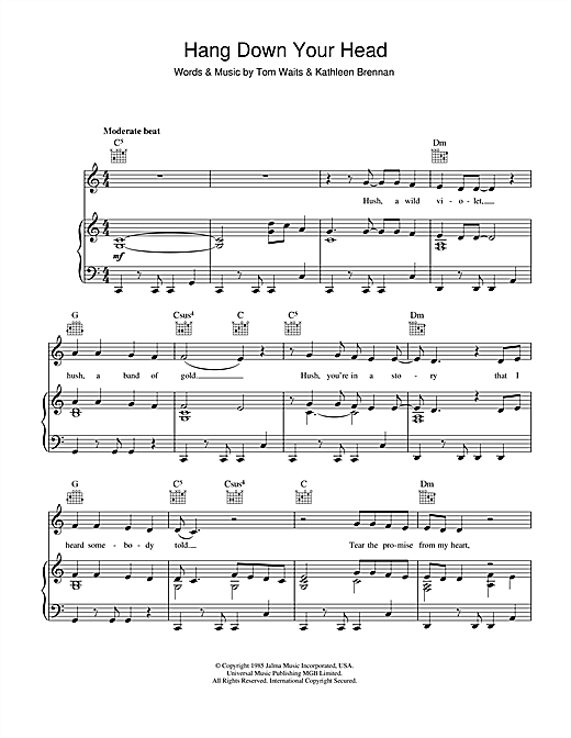 Tom Waits Hang Down Your Head sheet music notes printable PDF score
