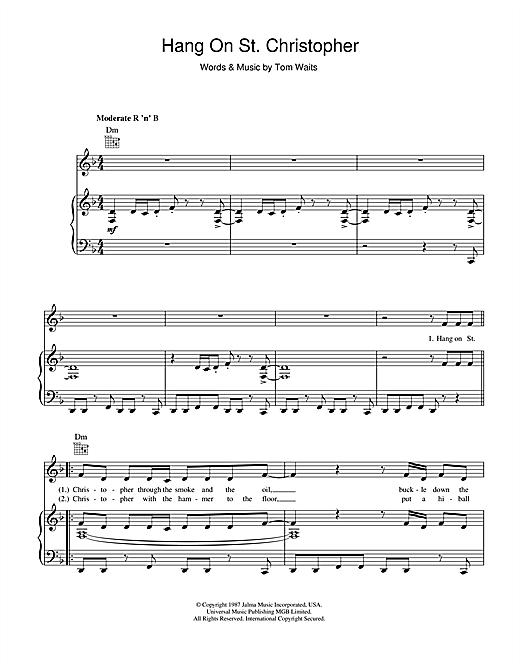 Tom Waits Hang On St. Christopher sheet music notes printable PDF score