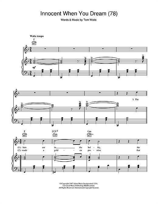 Tom Waits Innocent When You Dream (78) sheet music notes printable PDF score