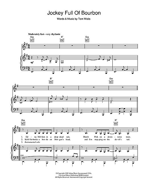 Tom Waits Jockey Full Of Bourbon sheet music notes printable PDF score