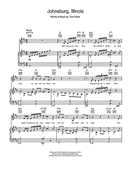 Tom Waits Johnsburg, Illinois sheet music notes printable PDF score