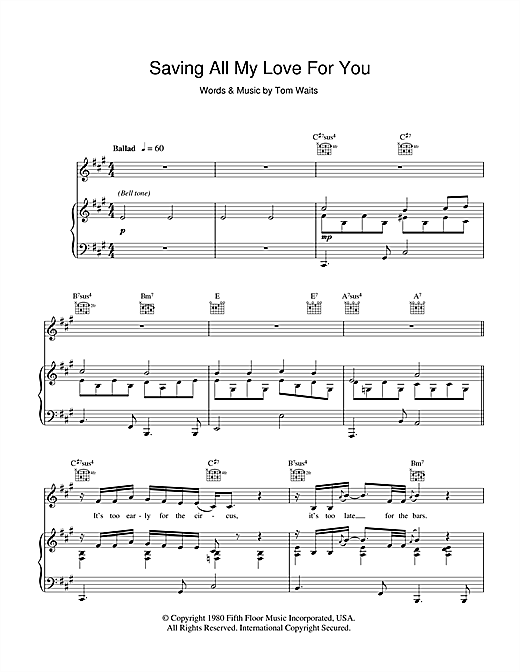 Tom Waits Saving All My Love For You sheet music notes and chords. Download Printable PDF.