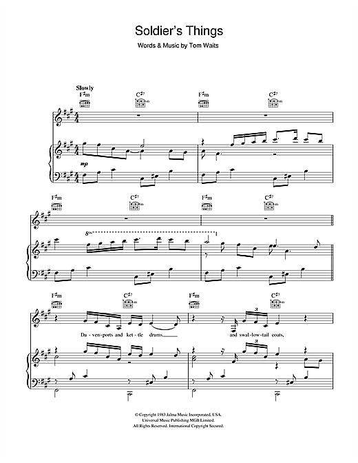 Tom Waits Soldier's Things sheet music notes printable PDF score