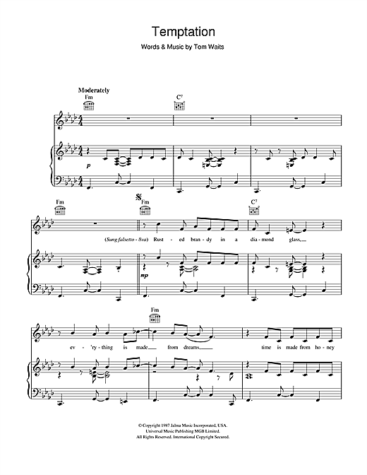 Tom Waits Temptation sheet music notes printable PDF score
