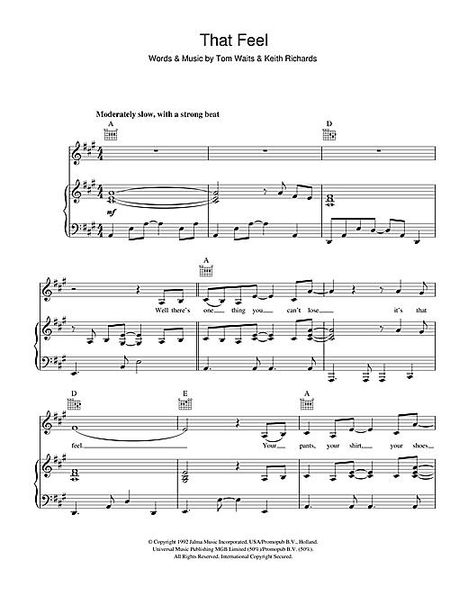 Tom Waits That Feel sheet music notes printable PDF score