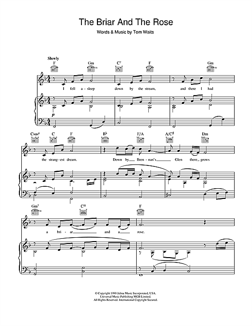 Tom Waits The Briar And The Rose sheet music notes printable PDF score