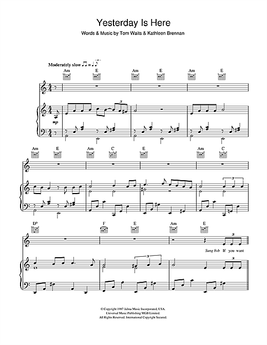 Tom Waits Yesterday Is Here sheet music notes printable PDF score