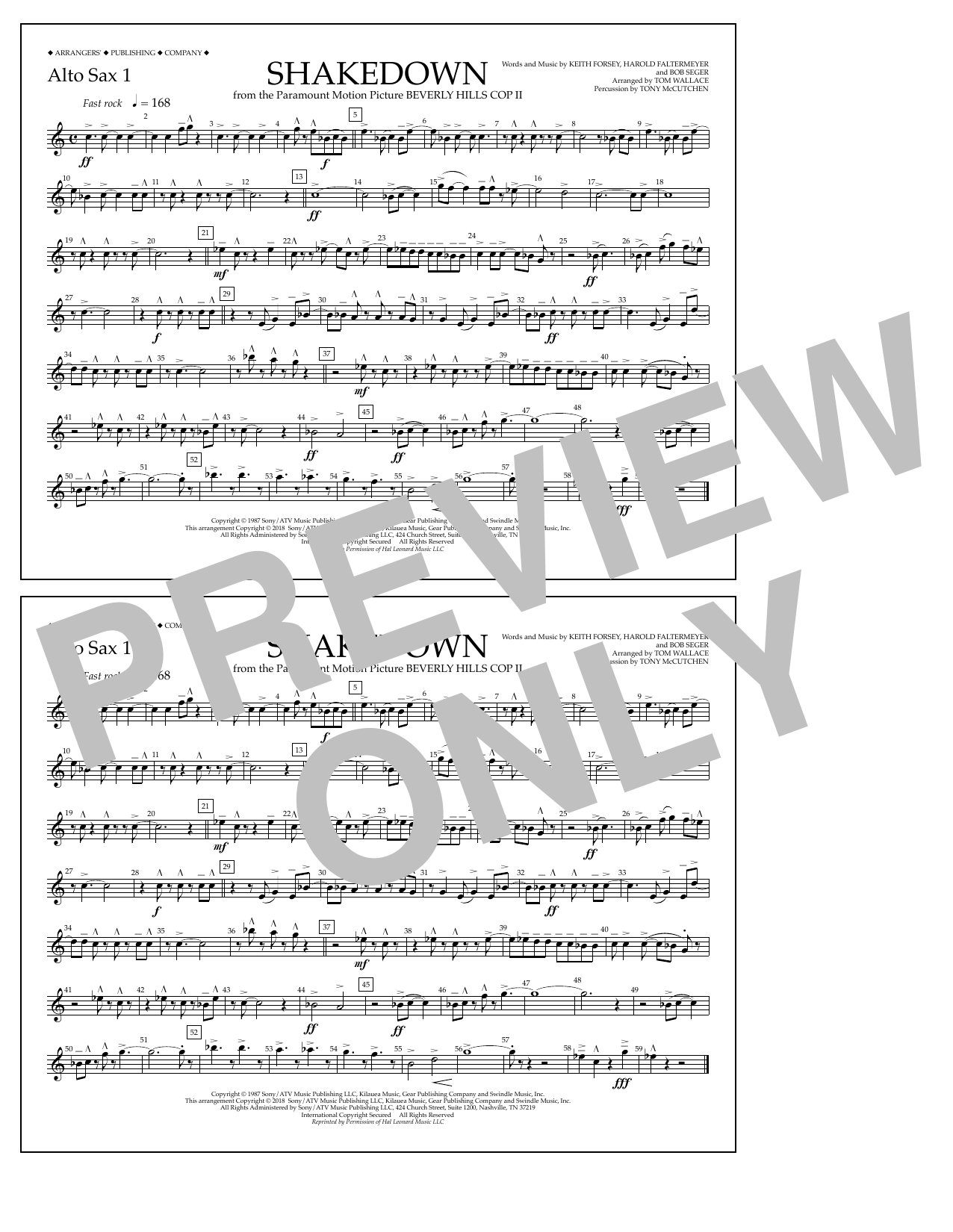 Tom Wallace Shakedown - Alto Sax 1 sheet music notes and chords. Download Printable PDF.