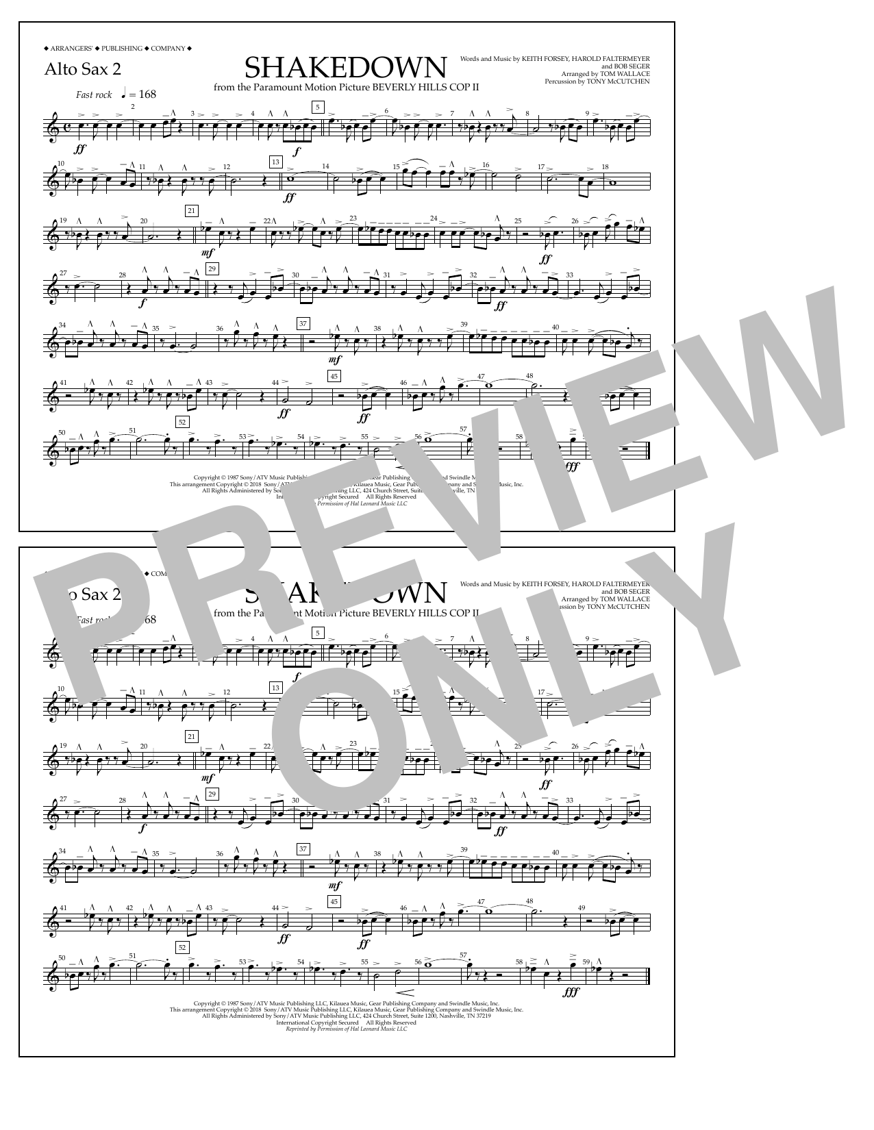 Tom Wallace Shakedown - Alto Sax 2 sheet music notes and chords. Download Printable PDF.