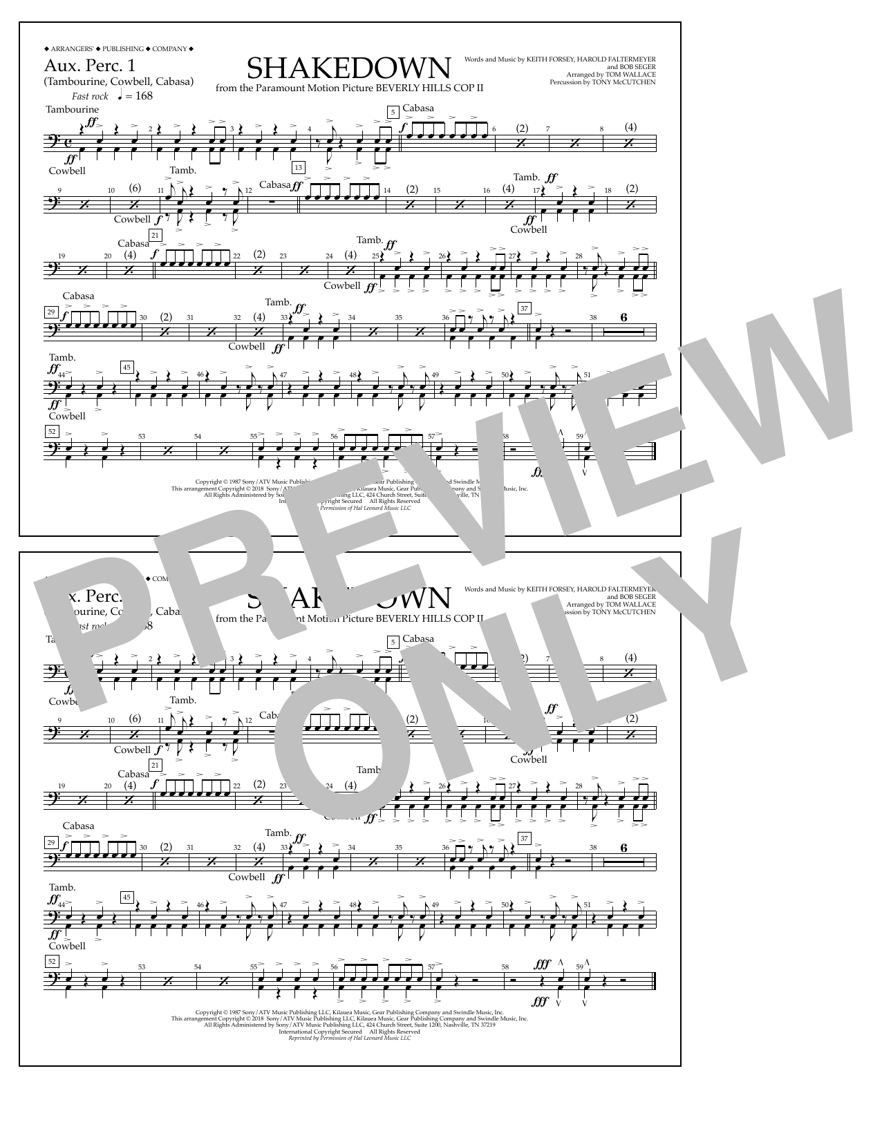 Tom Wallace Shakedown - Aux. Perc. 1 sheet music notes and chords. Download Printable PDF.