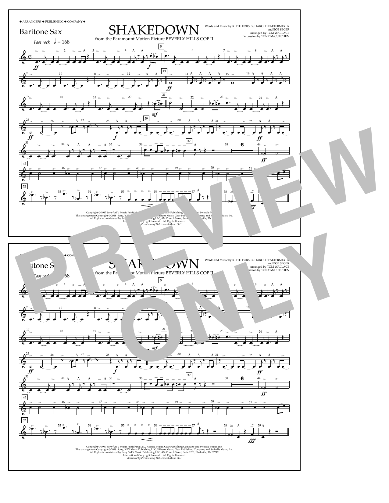 Tom Wallace Shakedown - Baritone Sax sheet music notes and chords. Download Printable PDF.