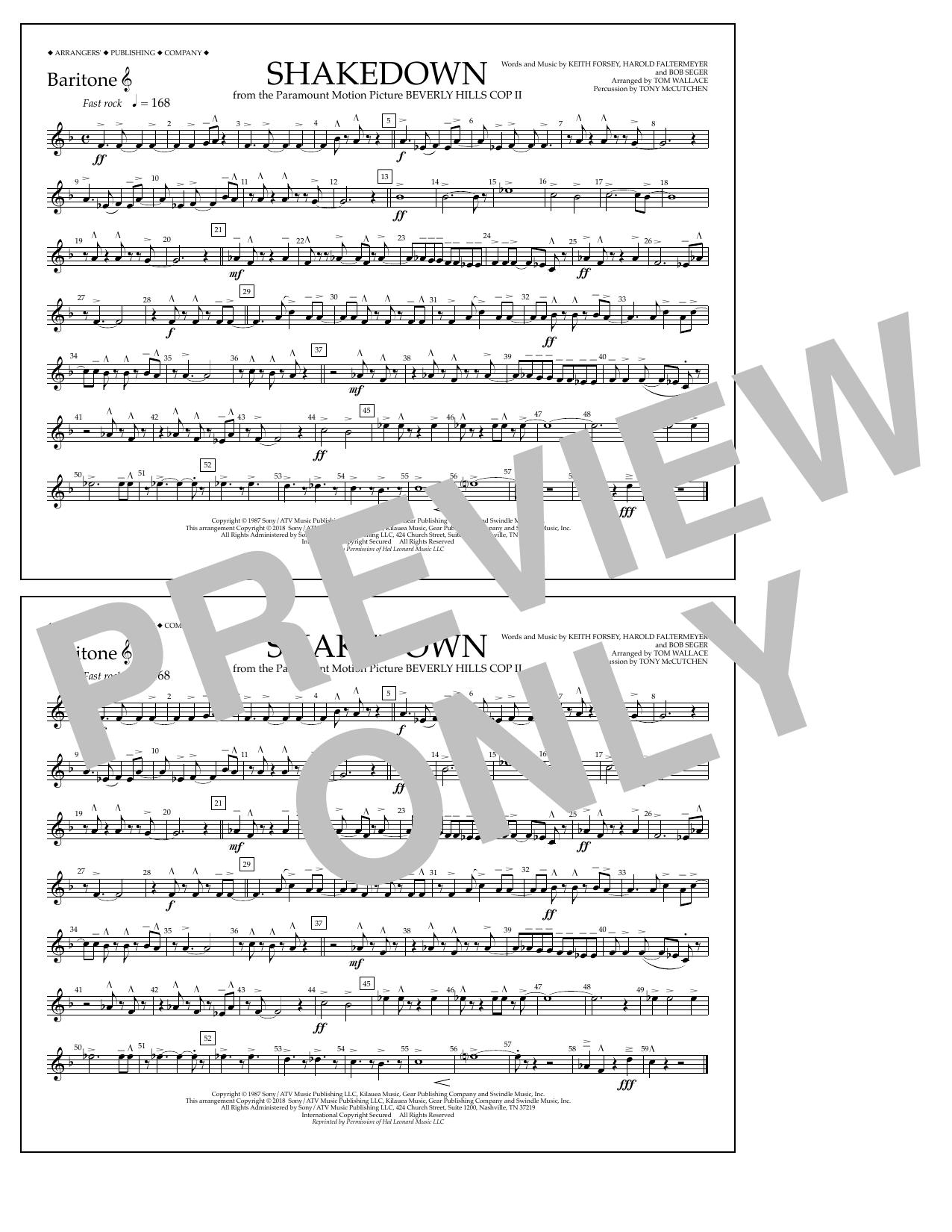 Tom Wallace Shakedown - Baritone T.C. sheet music notes and chords. Download Printable PDF.